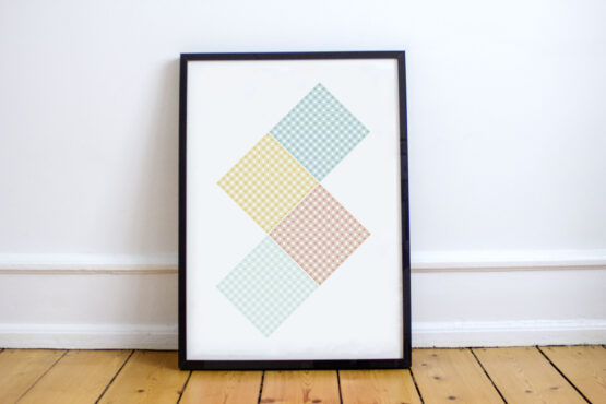 Geometric poster print, using the style of plaid knitting pattern