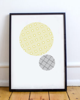 Abstract mustard & grey geo-pattern poster